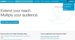 Twitter Developer Site My Application